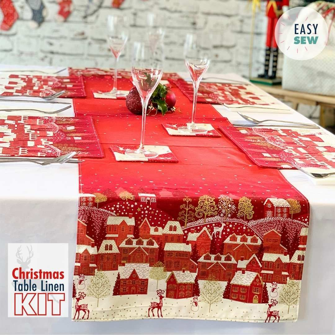 Scandi 2021 - Christmas Table Kit Red - Table Runner, Place Mats & Coasters