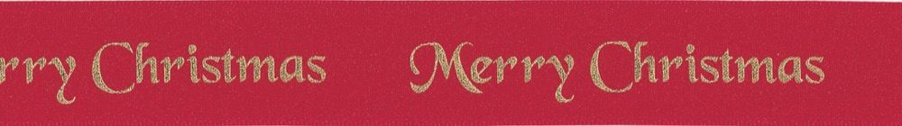 Berisfords Merry Christmas Ribbon - 10mm Wide - Red