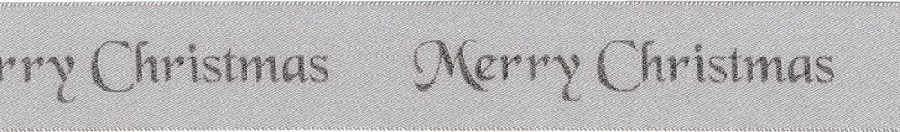Berisfords Merry Christmas Ribbon - 25mm Wide - Silver