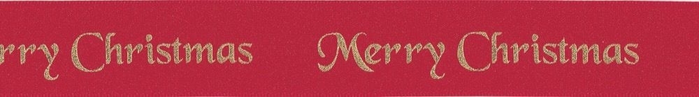 Berisfords Merry Christmas Ribbon - 25mm Wide - Red