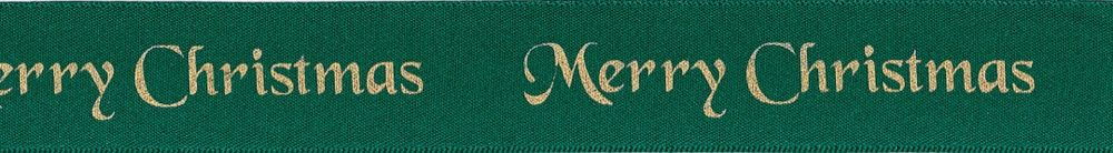 Berisfords Merry Christmas Ribbon - 25mm Wide - Hunter Green