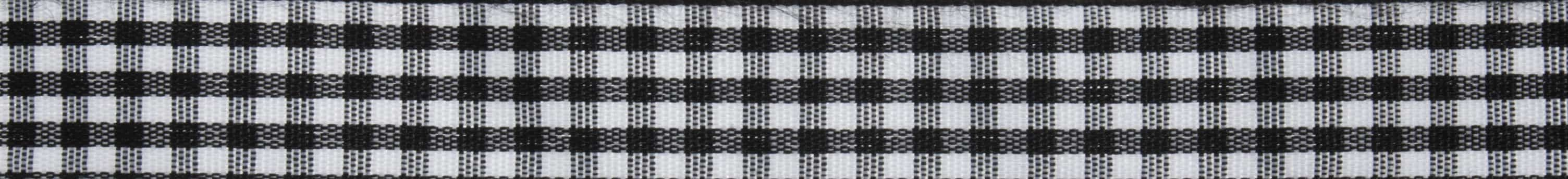 15mm Black Gingham Ribbon 5m Reel