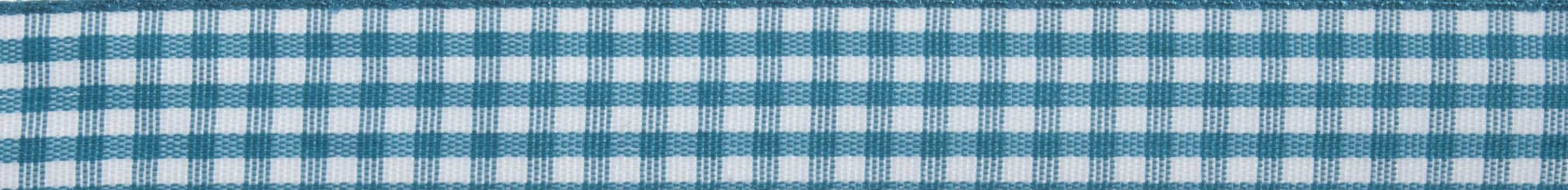 15mm Teal Gingham Ribbon 5m Reel