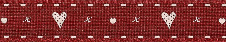 Berisfords 15mm Hearts And Kisses Red Ribbon 4m Reel