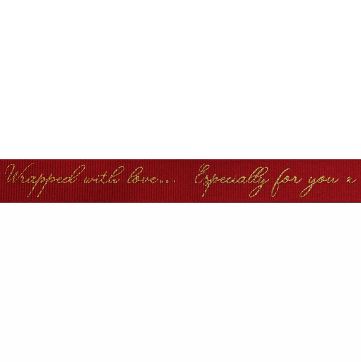Berisfords Ribbon - Sparkle With Love - 16mm Wide - Cardinal / Gold