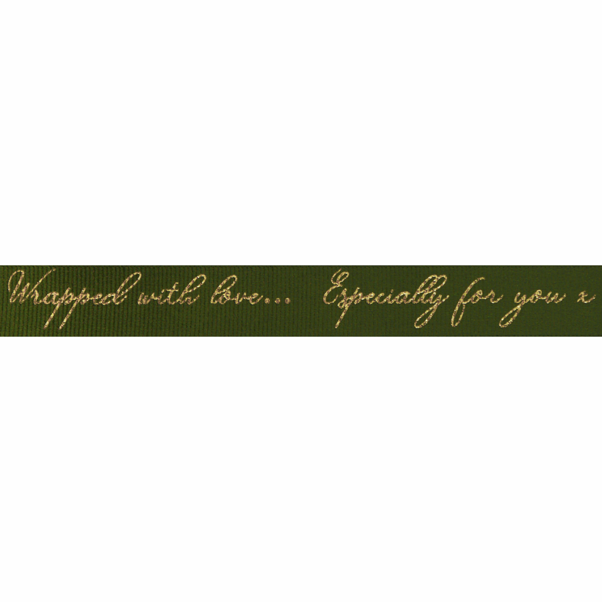Berisfords Ribbon - Sparkle With Love - 16mm Wide - Moss / Gold