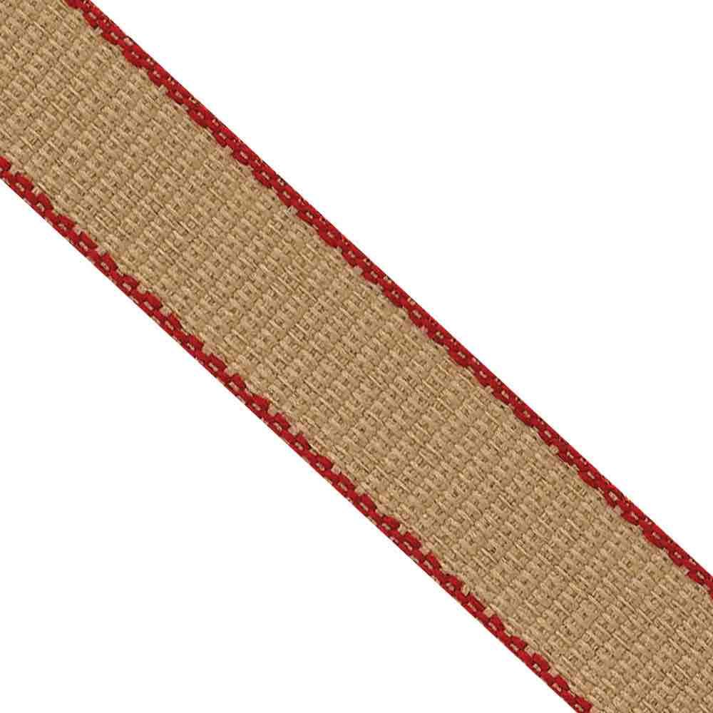 Hopsack / Hessian Effect Ribbon 7mm Wide Red Edged