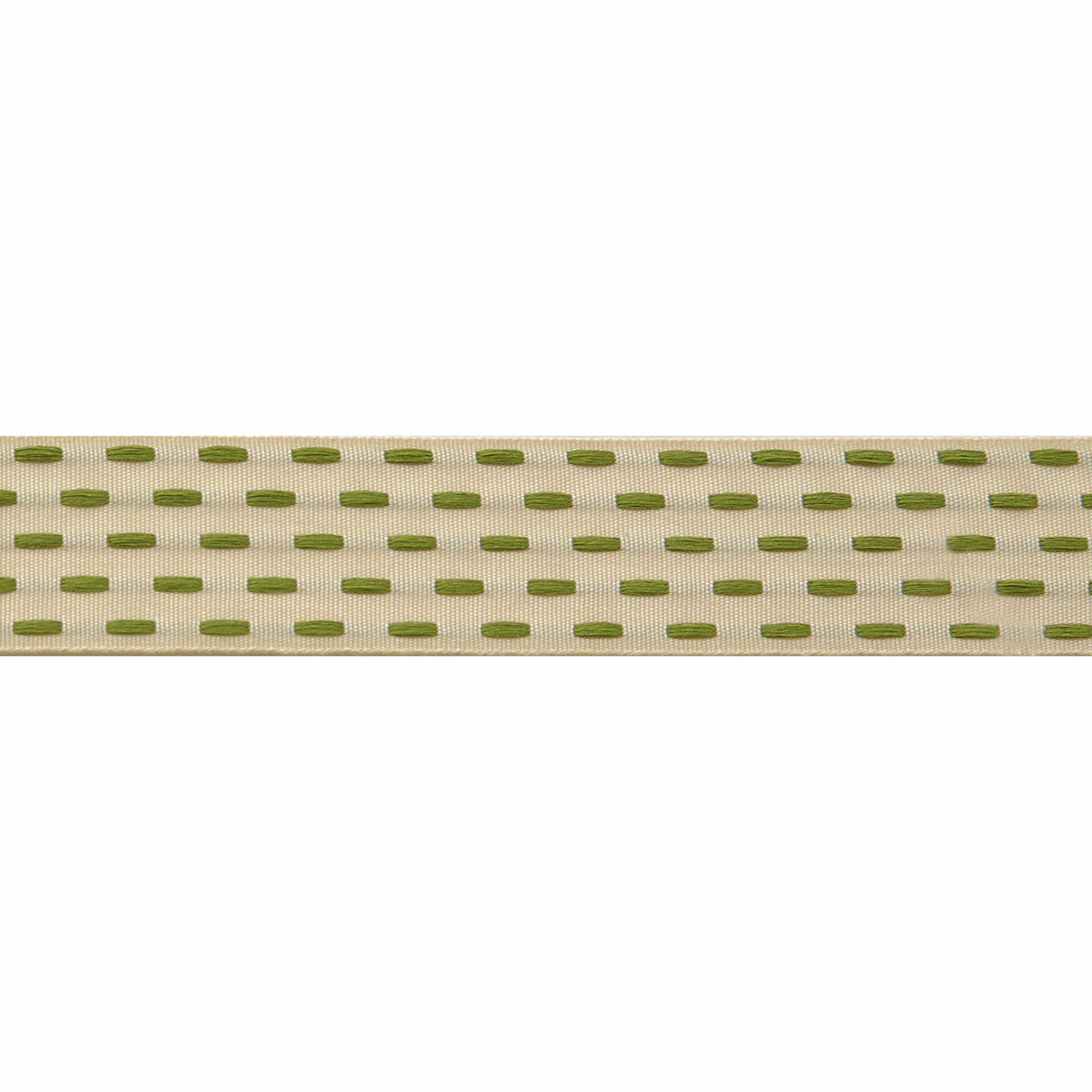 Berisfords Parallel Stitch Ribbon - 25mm Wide - Ivory / Cypress