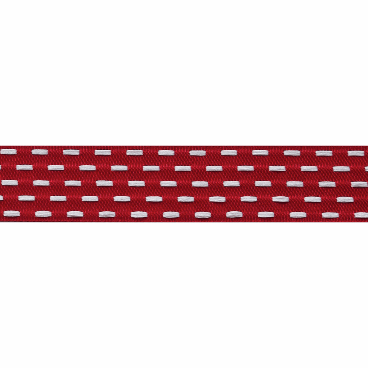 Berisfords Parallel Stitch Ribbon - 25mm Wide - Scarlet / White