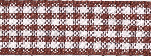 Berisfords - Gingham Ribbon - Brown - 5 Widths