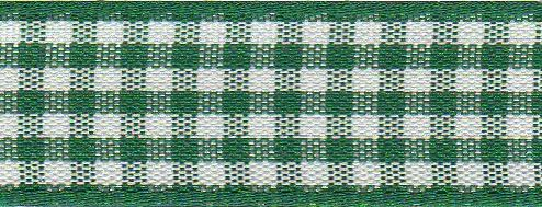 Berisfords - Gingham Ribbon - Hunter Green - 5 Widths