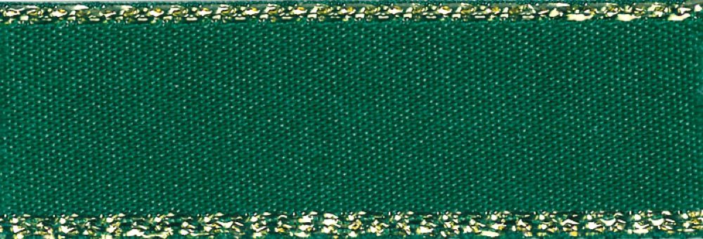 Berisfords Festive Gold Edge Satin Ribbon - 15mm Wide - Forest