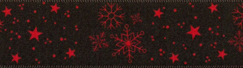 Berisfords Christmas Winter Sky Reversible Satin Ribbon 25mm Wide - Red