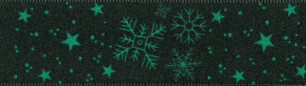 Berisfords Christmas Winter Sky Reversible Satin Ribbon 25mm Wide - Green