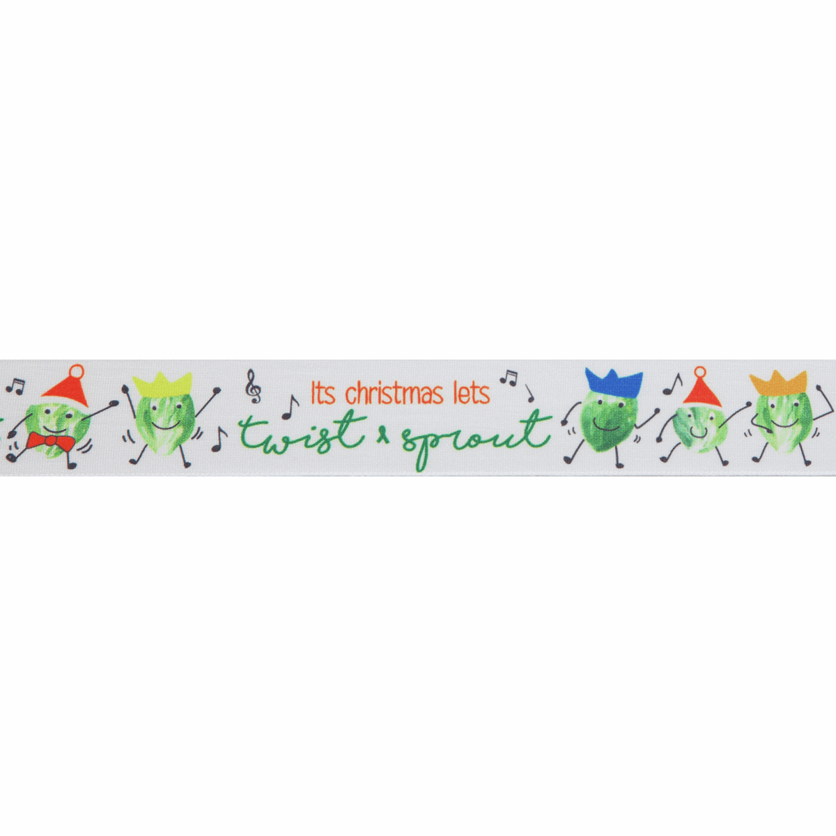 Berisfords Christmas Satin Ribbon 25mm Wide - Twist & Sprout - White