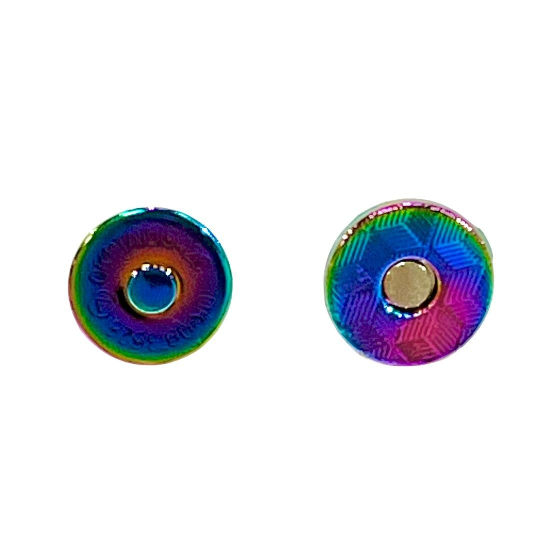 Low Profile Strong Magnetic Bag Clasp 14mm - Rainbow Metal Finish