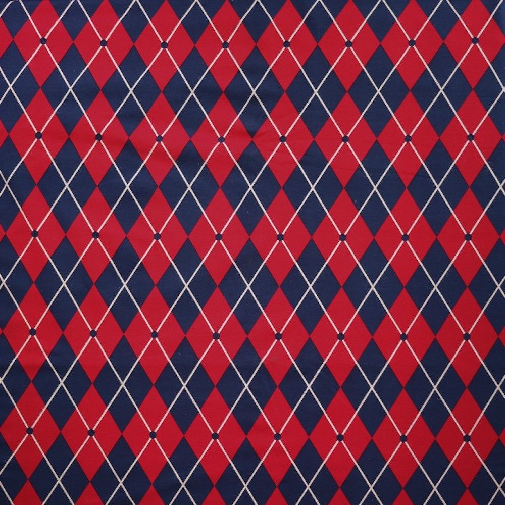 Stretch Cotton Spandex Jersey Knit - Red And Navy Harlequin