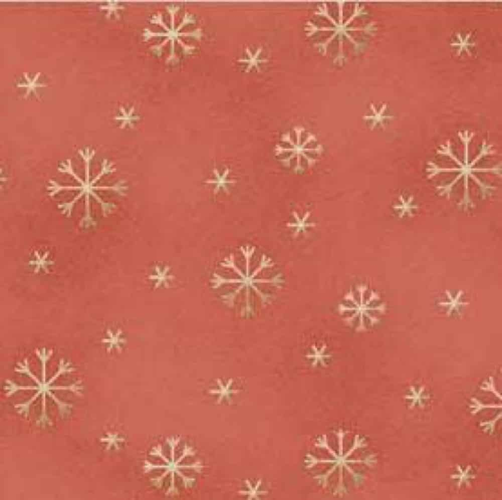 Red Rooster - All Things Christmas - Gold Snowflakes On Red