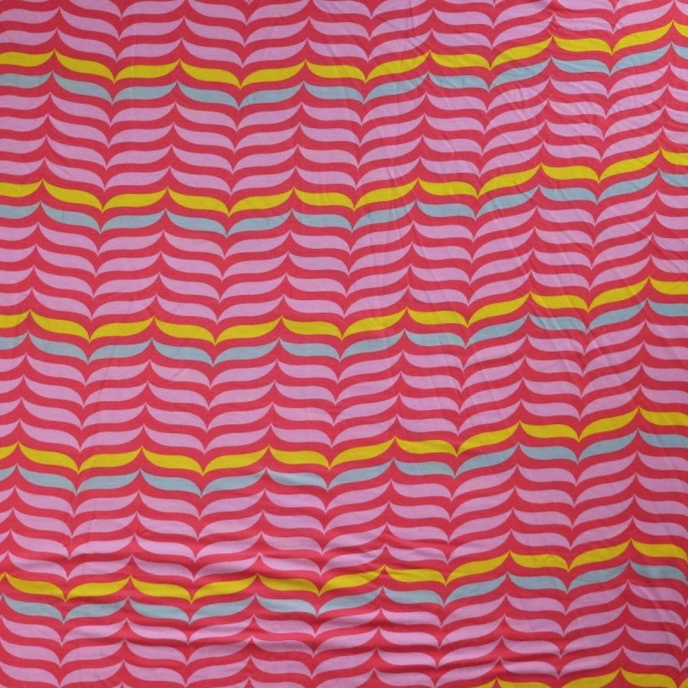 Viscose Jersey - Retro Waves Pink