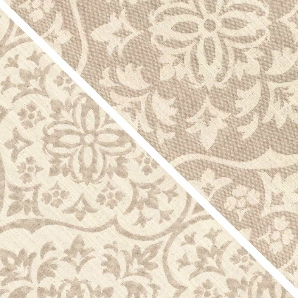 Upholstery / Curtain Fabric - Damask Natural - Reversible