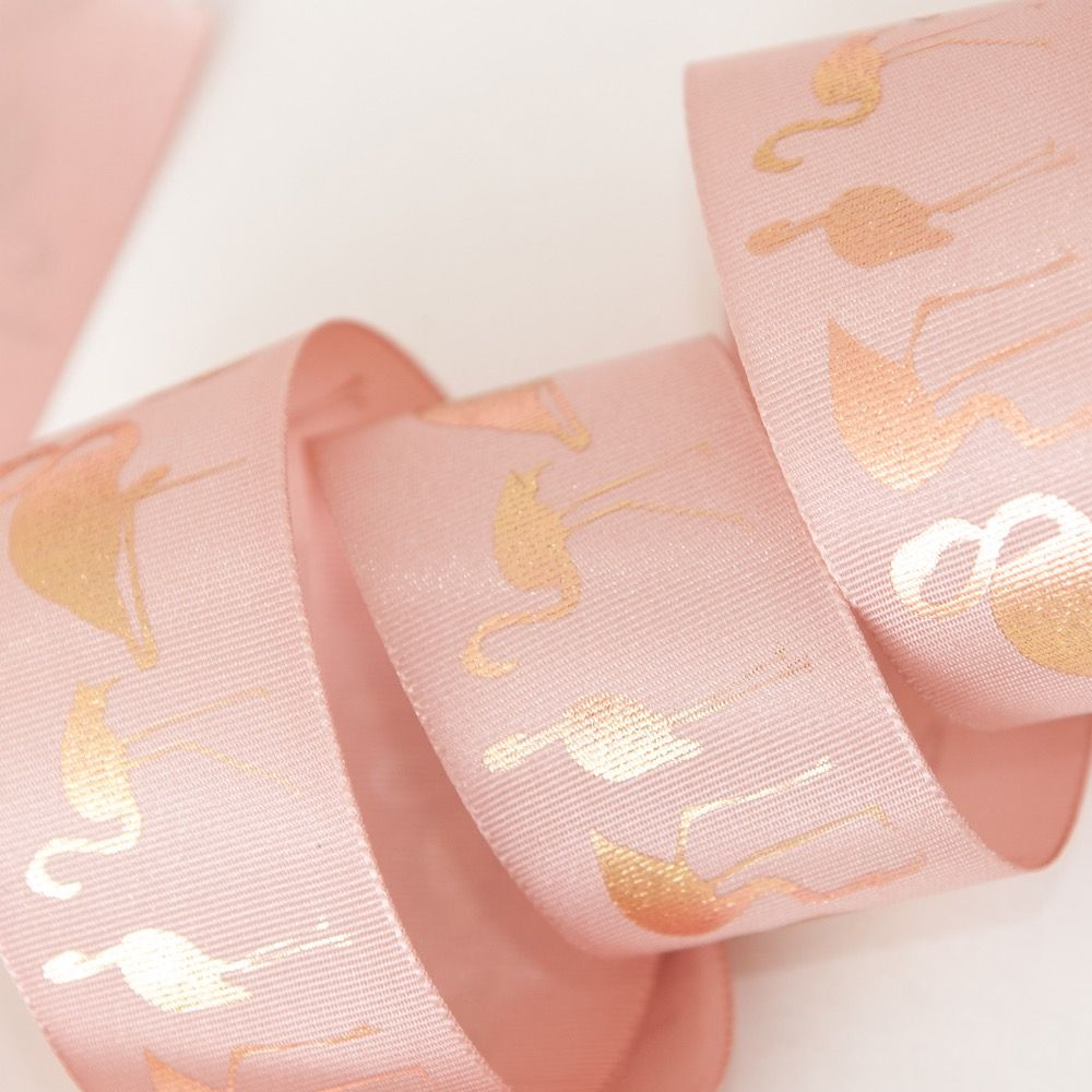 Berisfords Metallic Flamingo Ribbon In Peony & Rose Gold - 25mm Wide