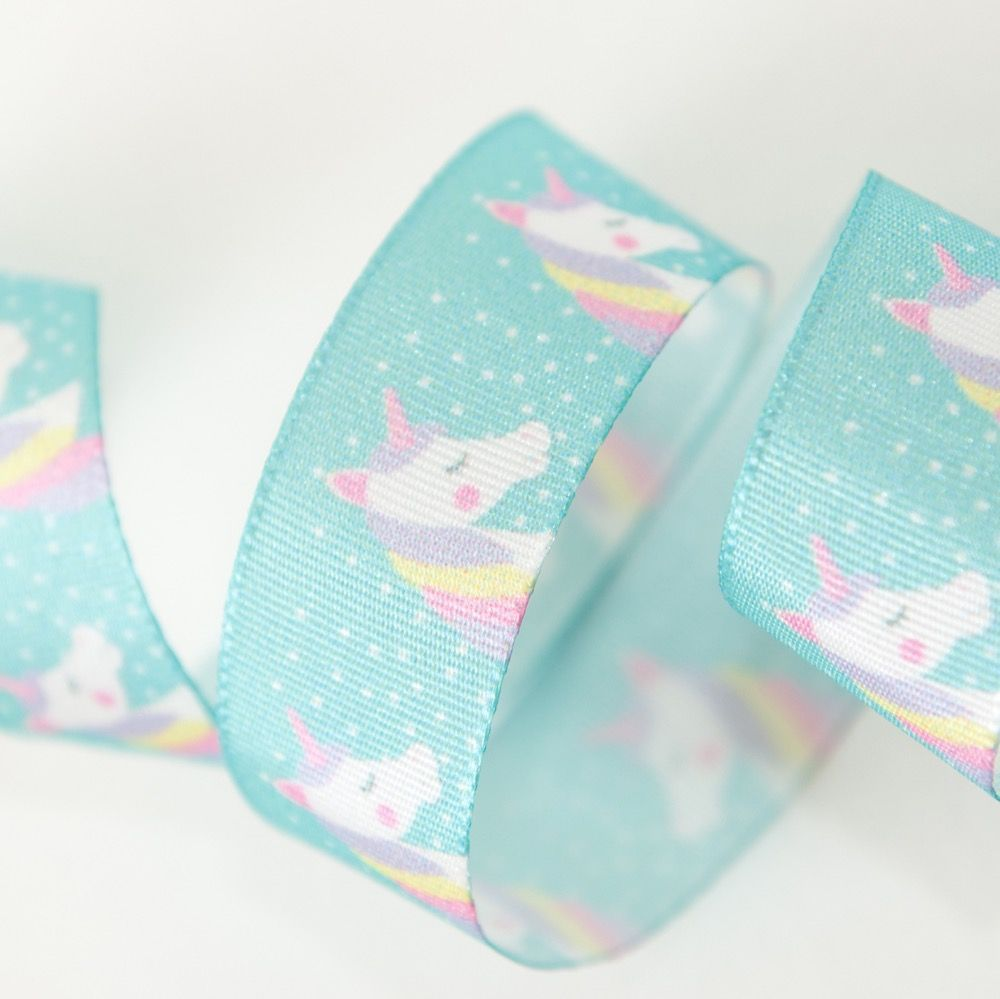Berisfords Starry Unicorn Ribbon On Teal - 15mm Wide