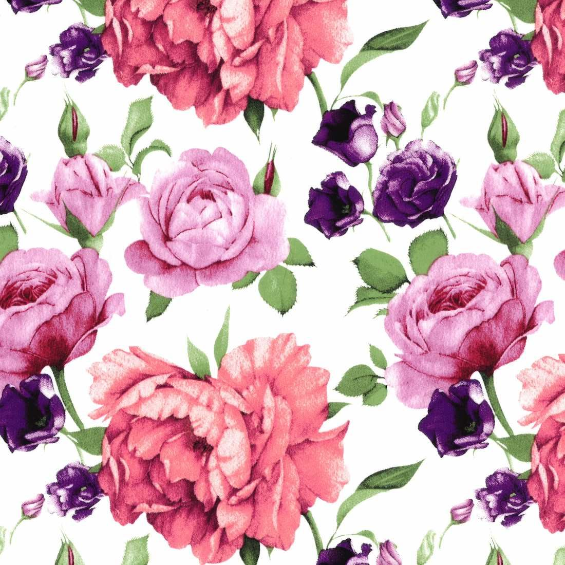 Stretch Cotton Fabric - Roses On White