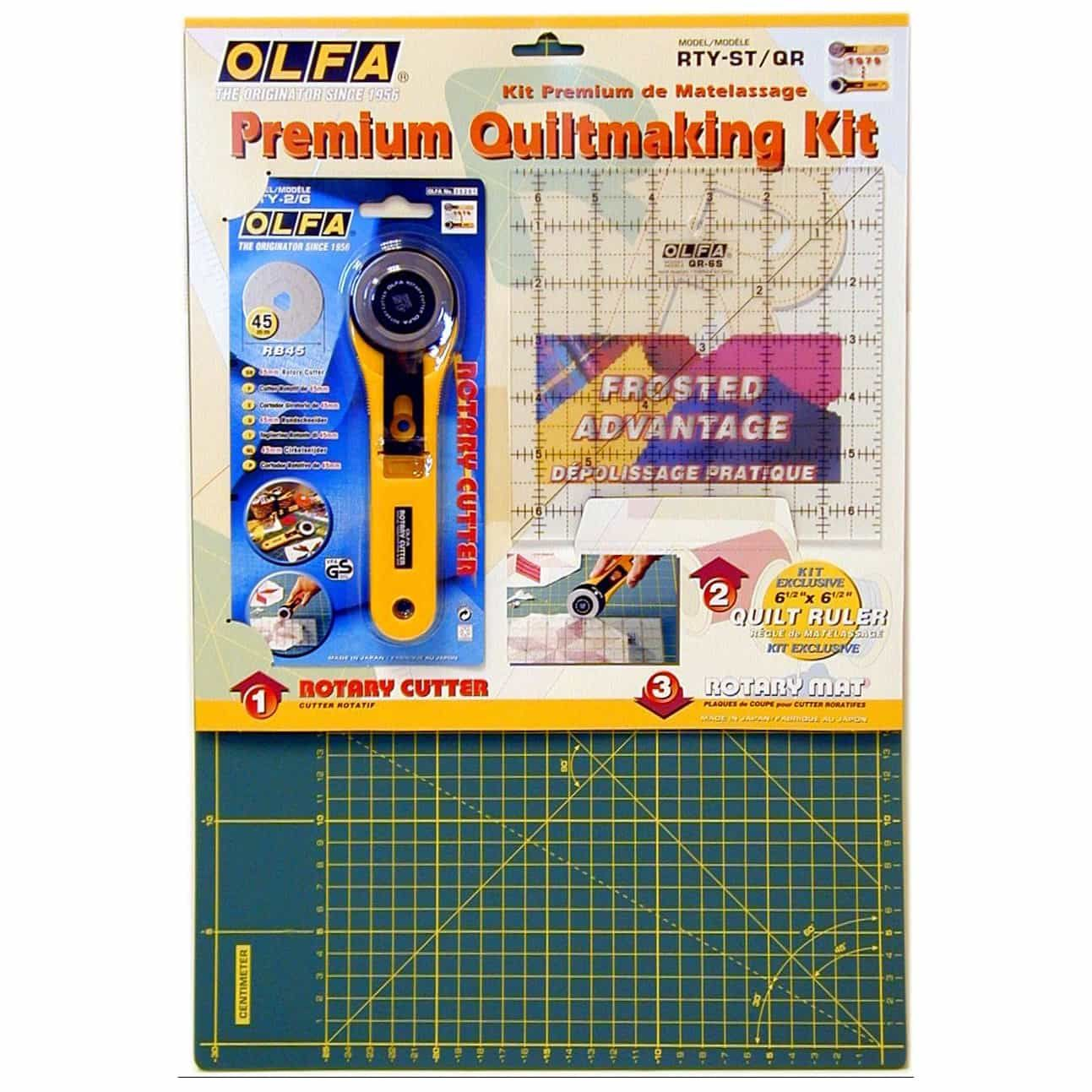 Olfa Rotary Cutter / Self Healing Mat / Square Ruler Set