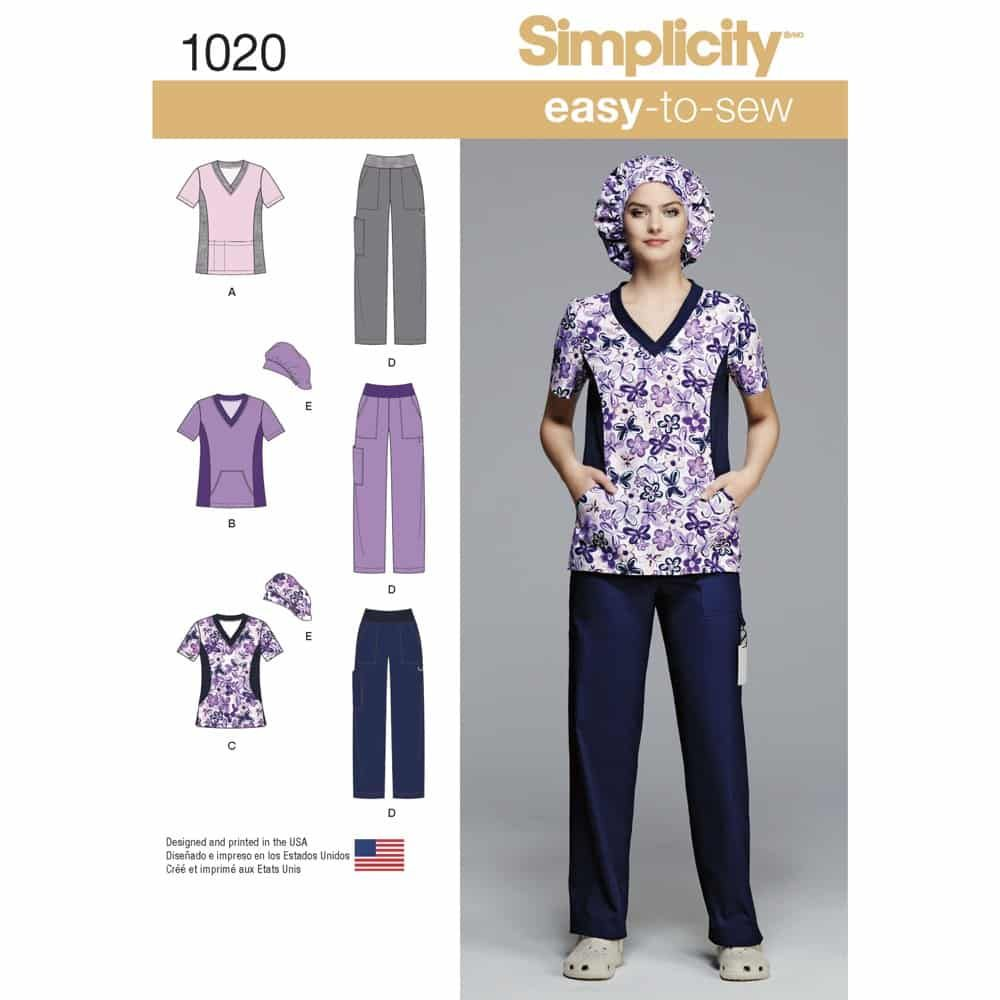 Simplicity Sewing Pattern 1020 Misses and Plus Size Scrubs