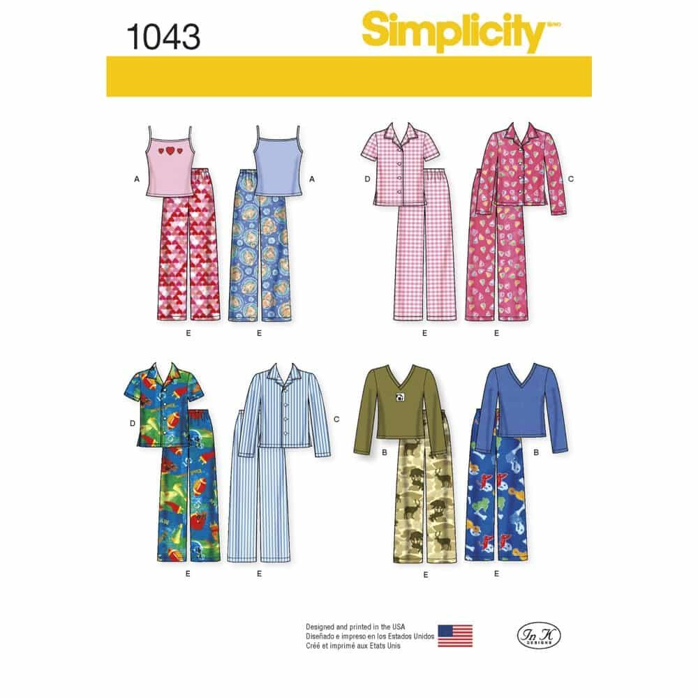 Simplicity Sewing Pattern 1043 Childs, Girls and Boys Separates
