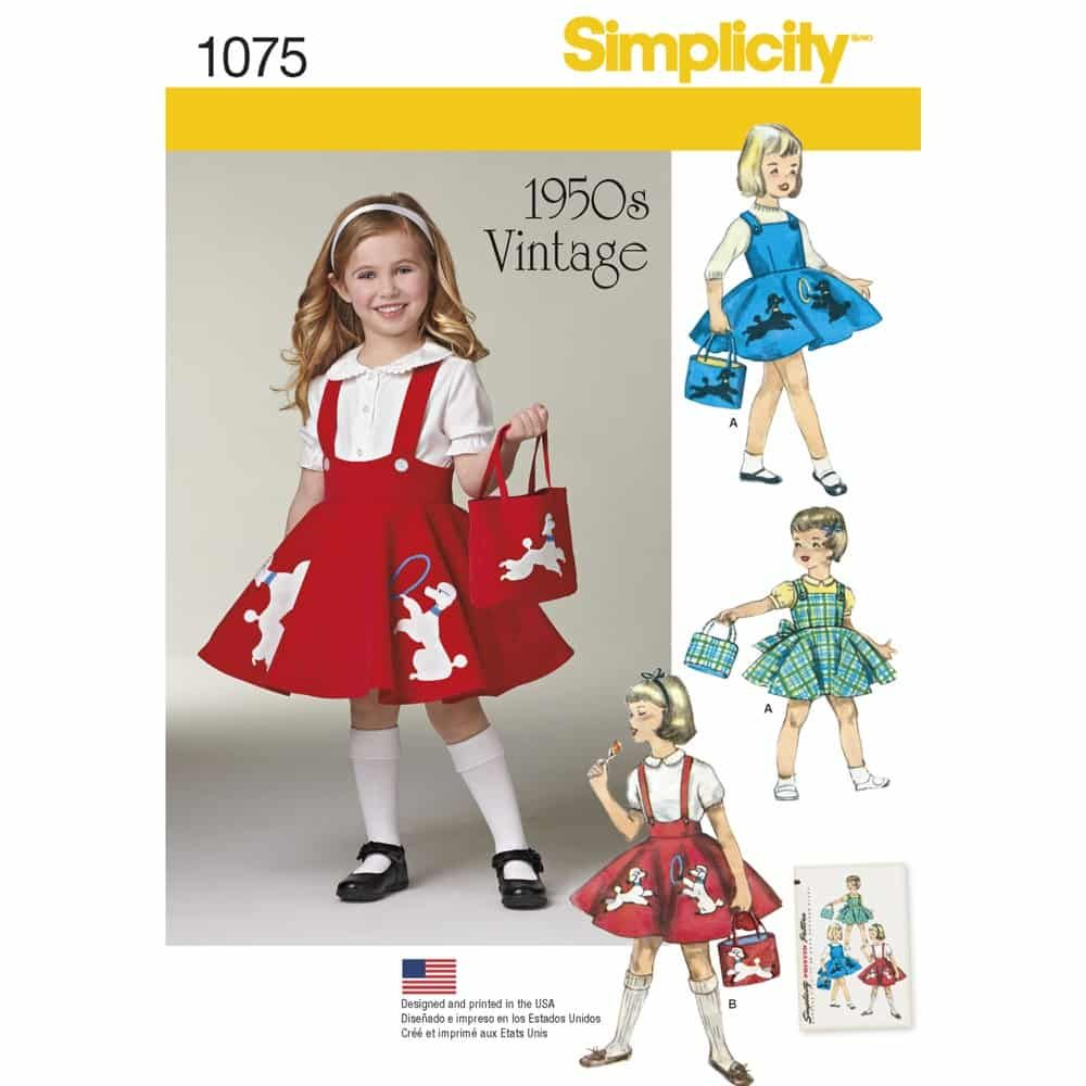 Simplicity Sewing Pattern 1075 Childs Jumper, Skirt and Bag
