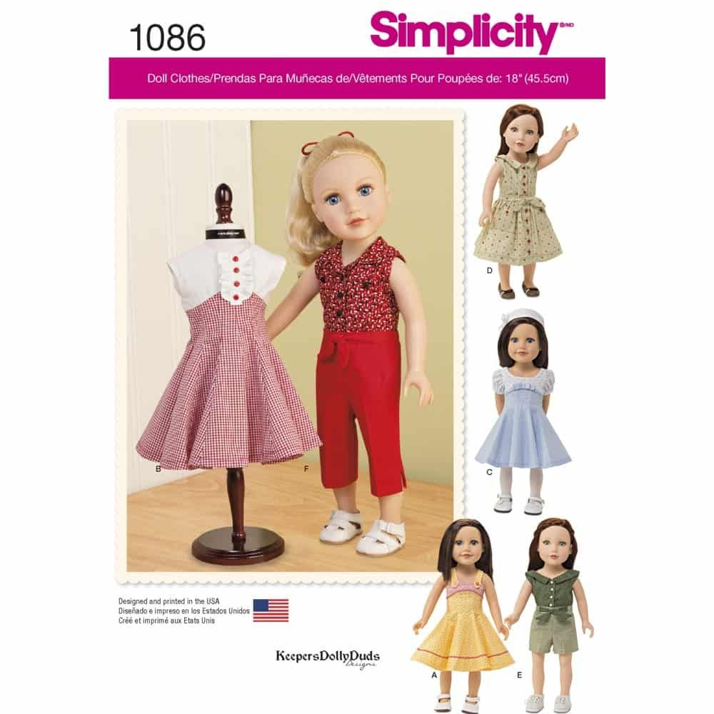 Simplicity Sewing Pattern 1086 18inch Doll Clothes