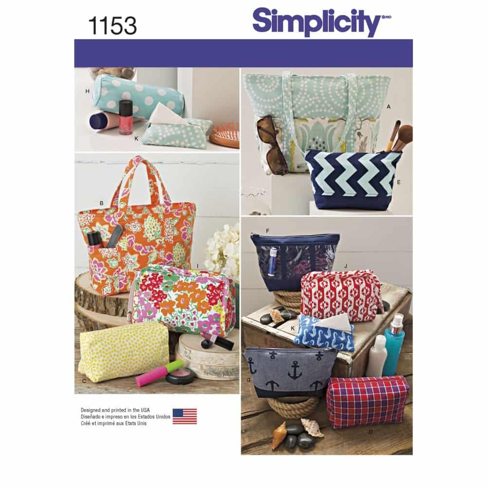 Simplicity Sewing Pattern 1153 Accessory Bags in Various Sizes