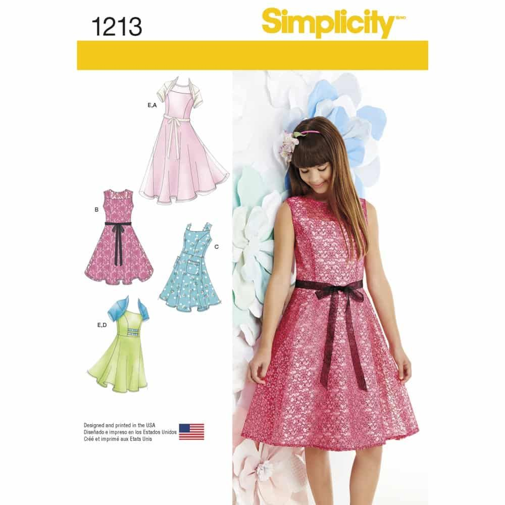 Simplicity Sewing Pattern 1213 Girls & Girls Plus Dresses and Knit Shrug