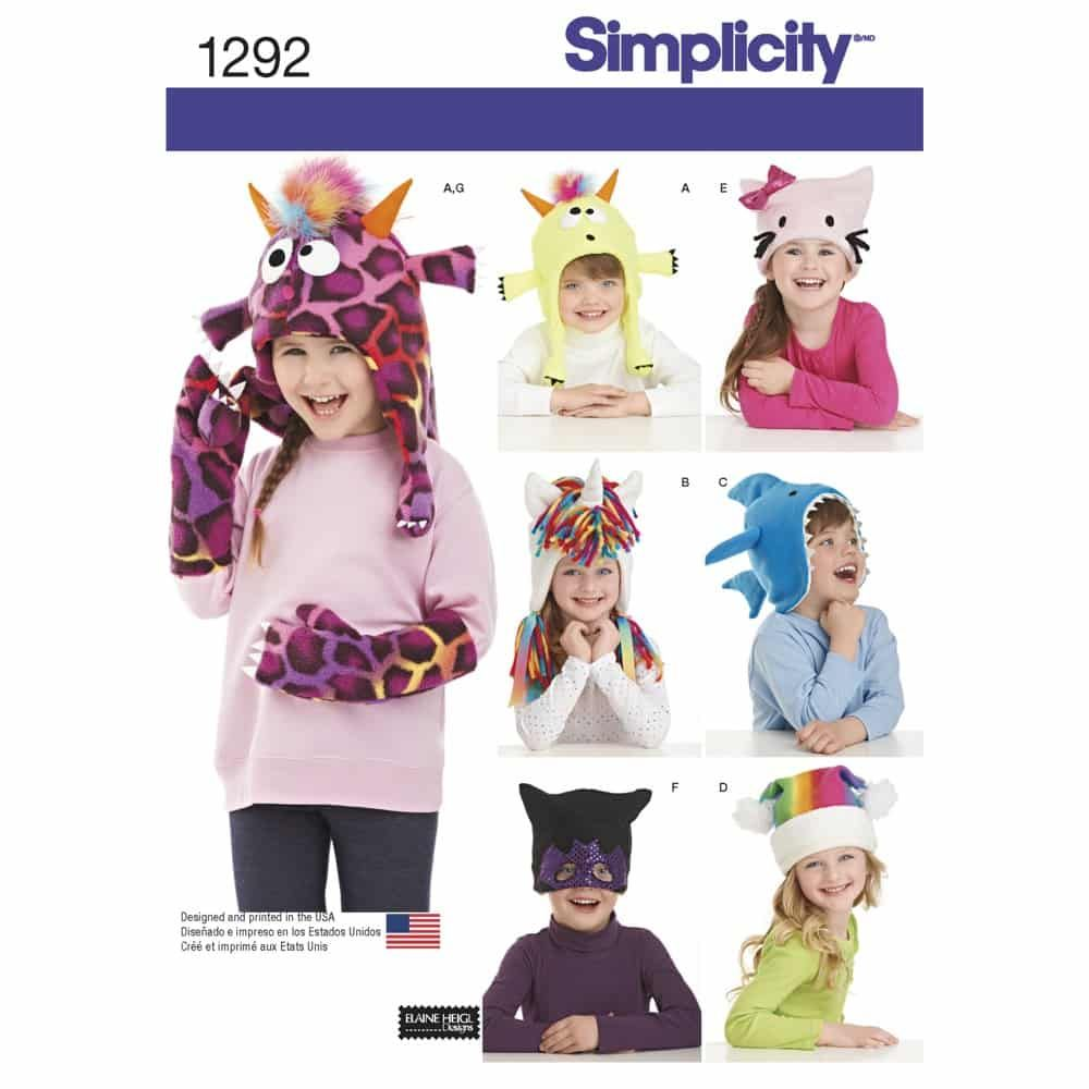 Simplicity Sewing Pattern 1292 Childs Hat and Mittens in Three Sizes
