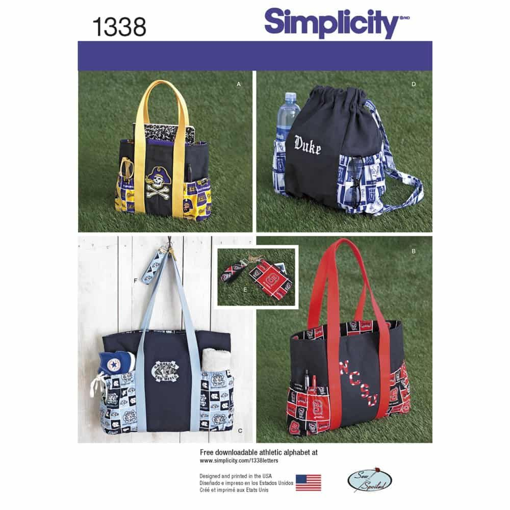 Simplicity Sewing Pattern 1338 Tote Bags in Three Sizes, Backpack and Coin Purse