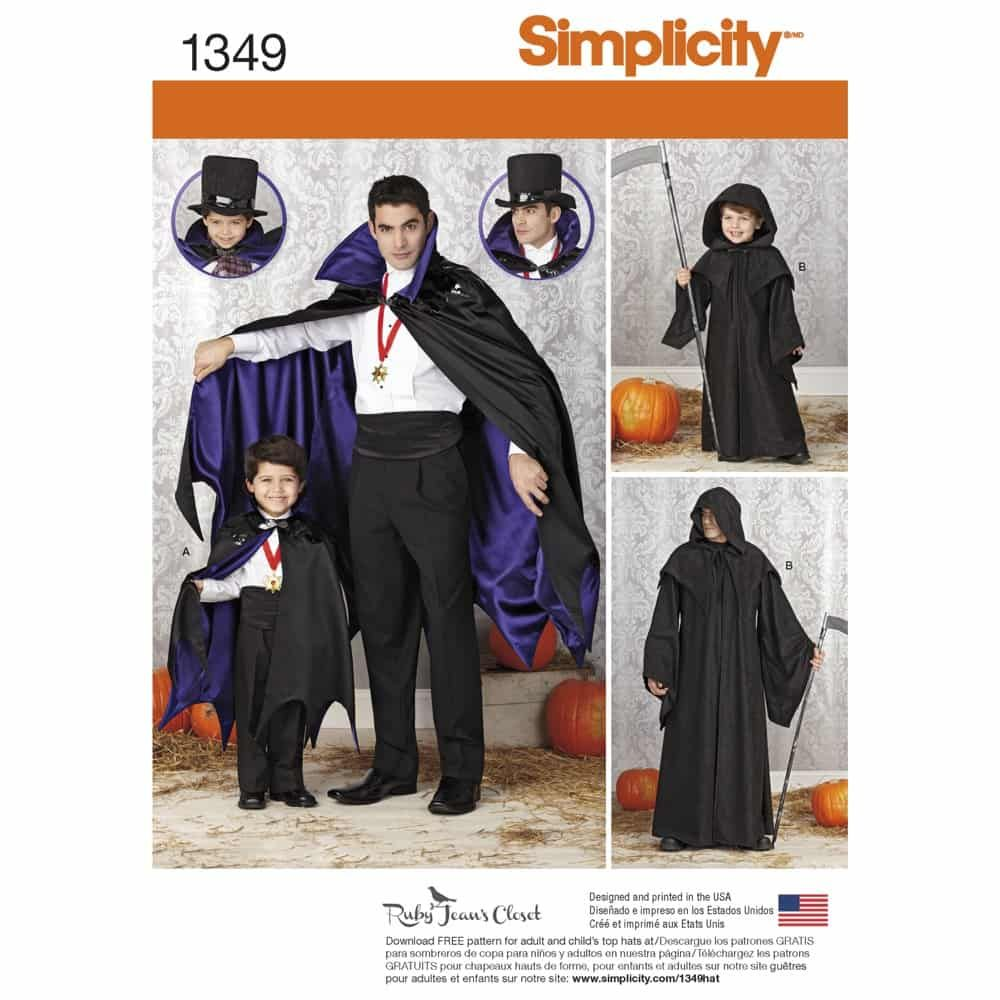 Simplicity Sewing Pattern 1349 Boys and Mens Capes