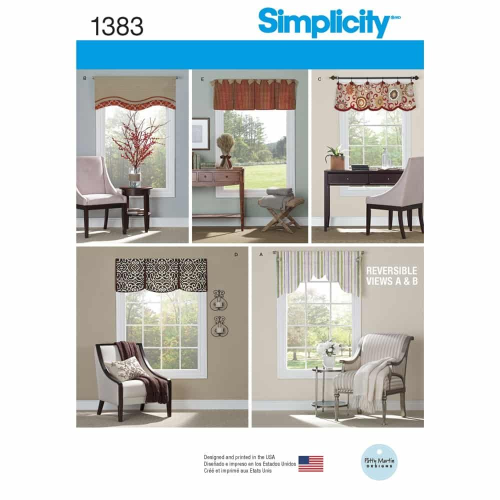 Simplicity Sewing Pattern 1383 Valances for 36inch to 40inch Wide Windows
