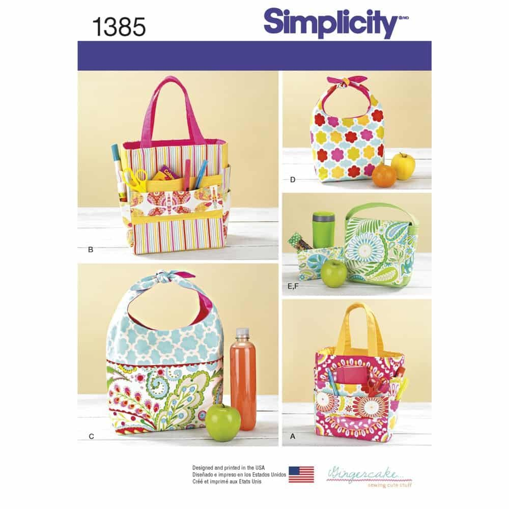 Simplicity Sewing Pattern 1385 Art Caddies, Lunch Bags and Snack Bag