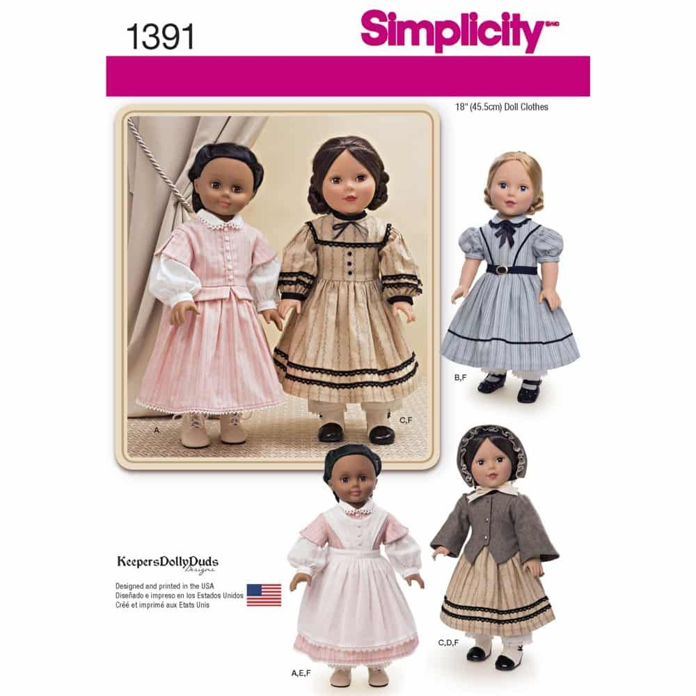 Simplicity Sewing Pattern 1391 Civil War Doll Costume for 18inch Doll
