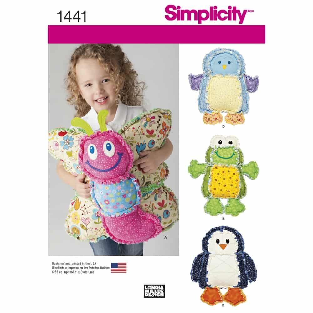 Simplicity Sewing Pattern 1441 Rag Quilted Animal Pillows