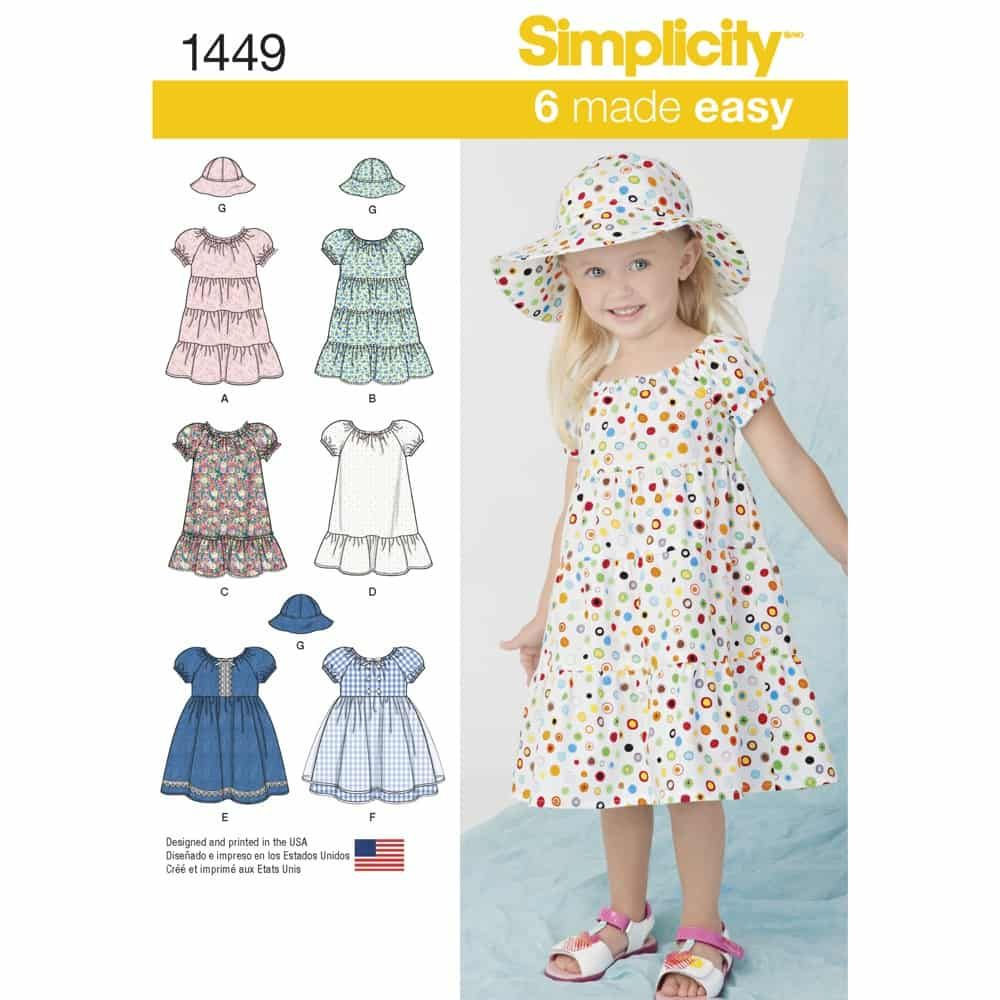 Simplicity Sewing Pattern 1449 Toddlers Dress and Hat in Three Sizes