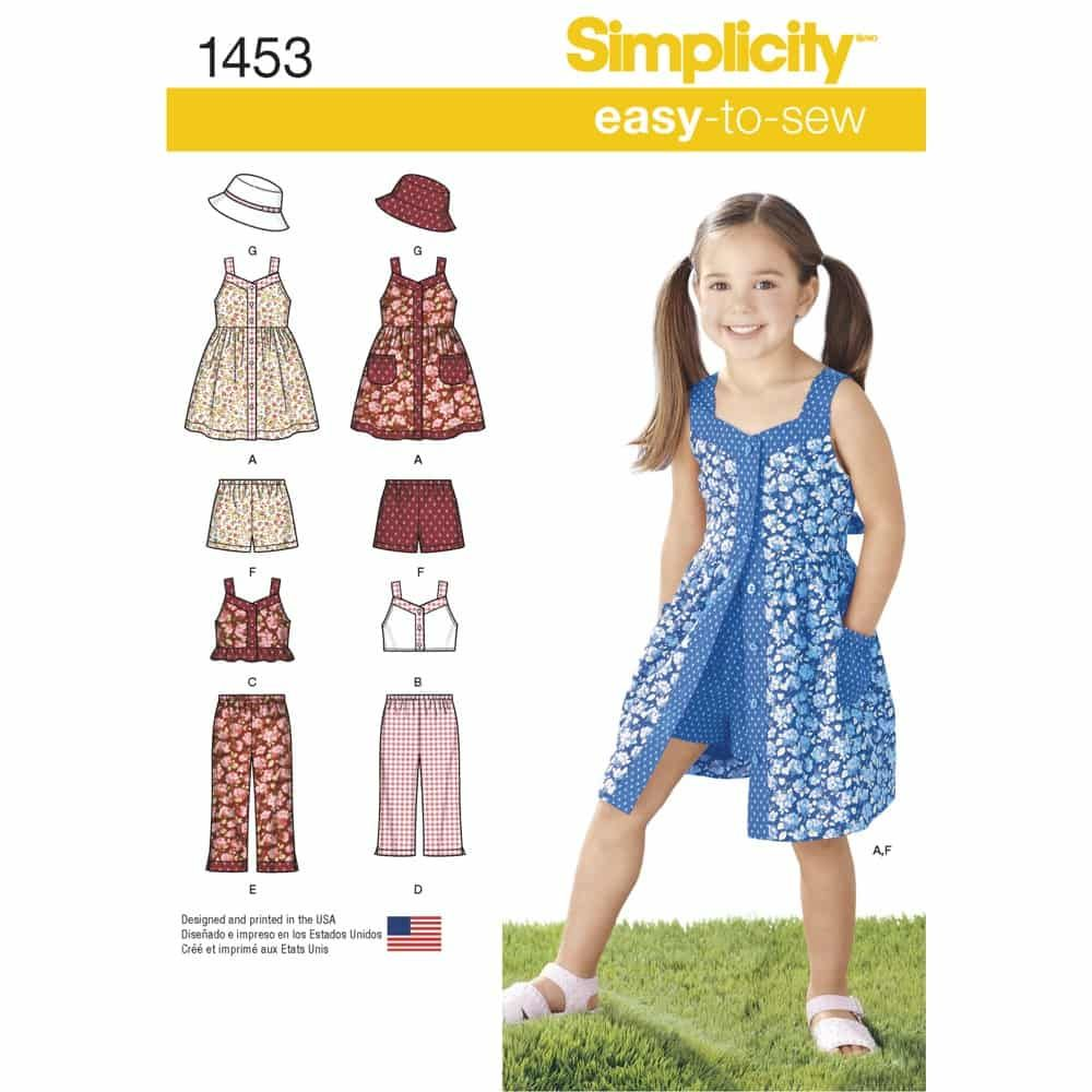 Simplicity Sewing Pattern 1453 Childs Dress, Top, Trousers or Shorts and Hat