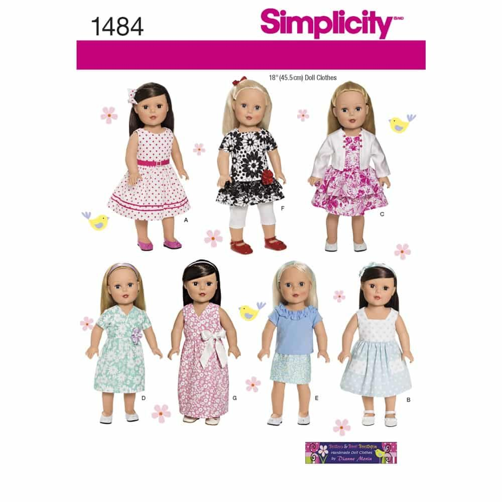 Simplicity Sewing Pattern 1484 18inch Doll Clothes