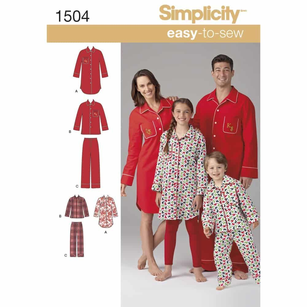 Simplicity Sewing Pattern 1504 Childs, Teens and Adults Loungewear