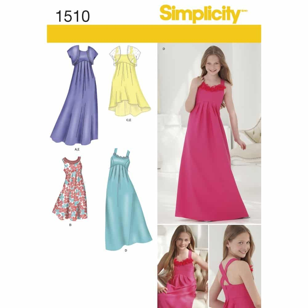 Simplicity Sewing Pattern 1510 Girls & Girls Plus Special Occasion Dress