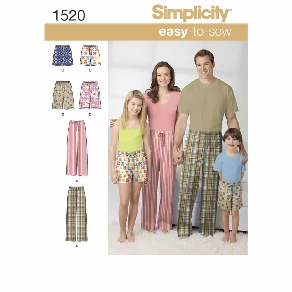 Simplicity Sewing Pattern 1520 Childs, Teens and Adults Trousers and Shorts