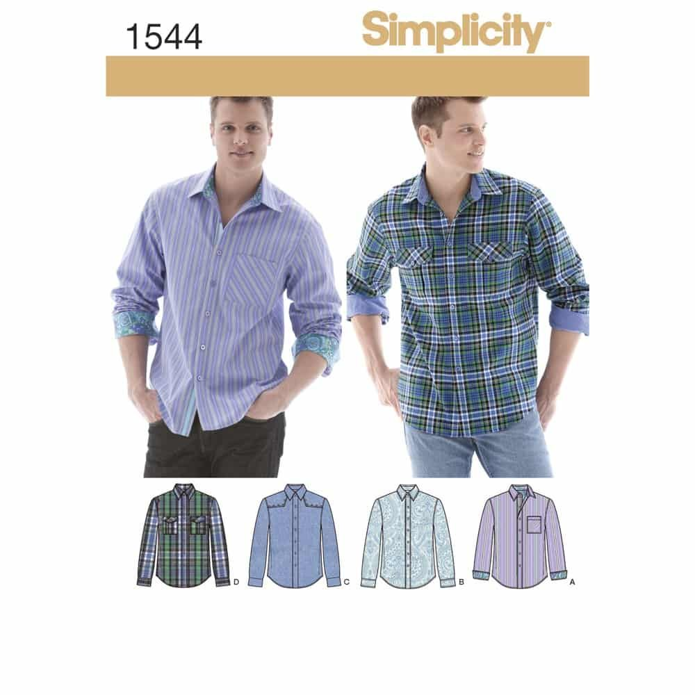Simplicity Sewing Pattern 1544 Mens Shirt with Fabric Variations