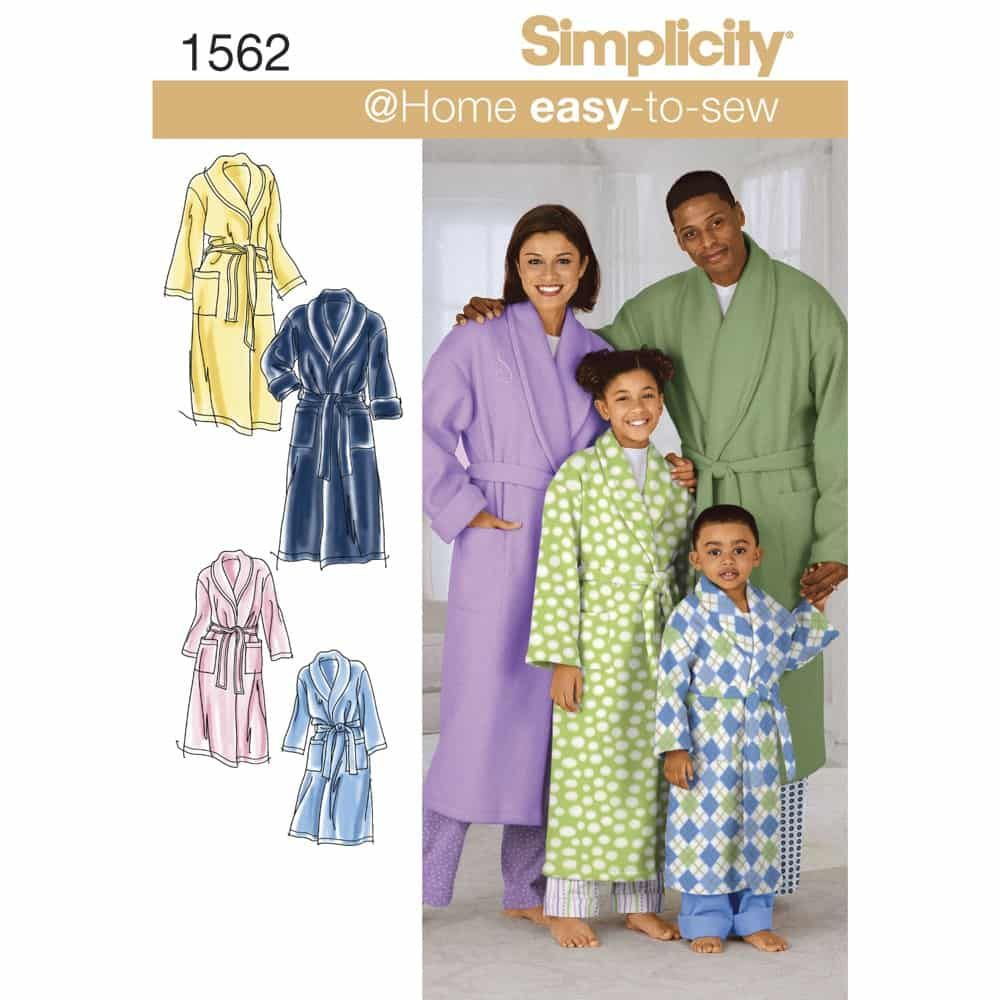 Simplicity Sewing Pattern 1562 Childs, Teens and Adults Robe and Belt