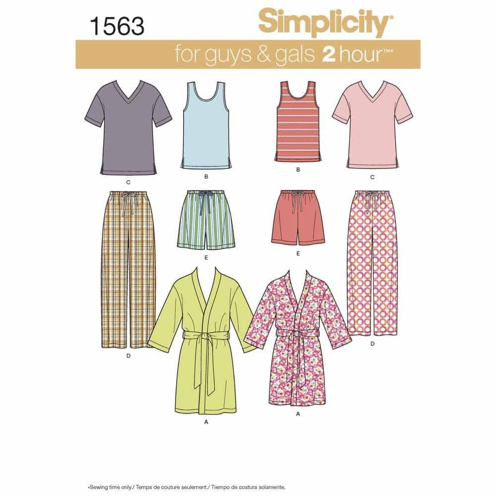 Simplicity Sewing Pattern 1563 Misses Mens and Teens Sleepwear
